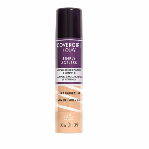 CoverGirl + Olay Simply Ageless 3-in-1 Liquid Foundation Soft Honey 255 Perspective: front