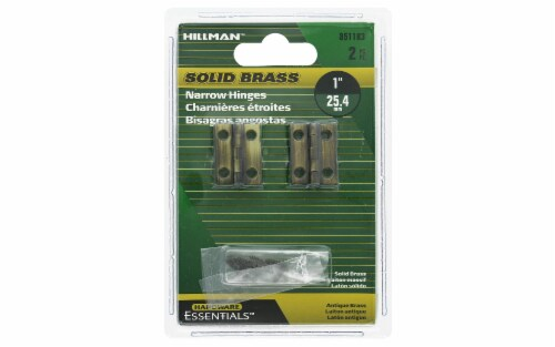 Hillman Hinge Narrow 1  Antique Brass 2pc Perspective: front
