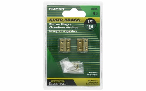 """Hillman Hinge Narrow 3/4"""" Bright Brass 4pc Perspective: front"""
