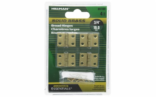 Hillman Hinge Broad 3/4  Bright Brass 4pc Perspective: front