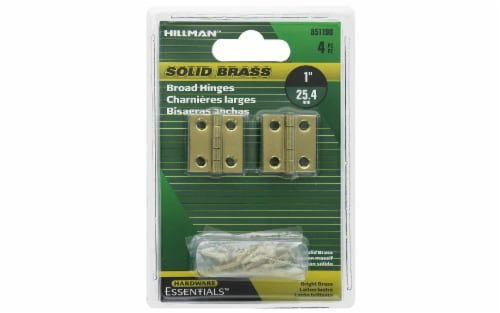 Hillman Hinge Broad 1  Bright Brass 4pc Perspective: front