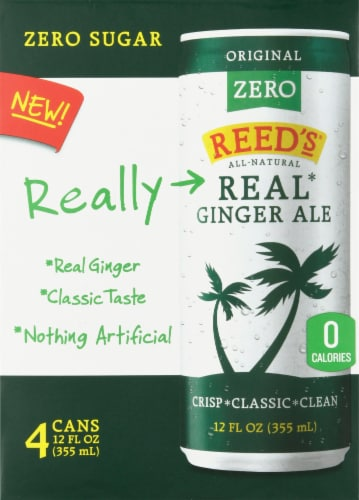 Reed's Original Zero Real Ginger Ale 4 Cans Perspective: front