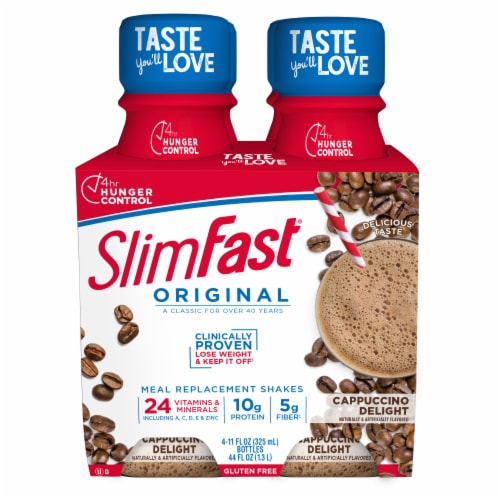 SlimFast Original Cappuccino Delight Ready To Drink Meal Replacement Shakes Perspective: front