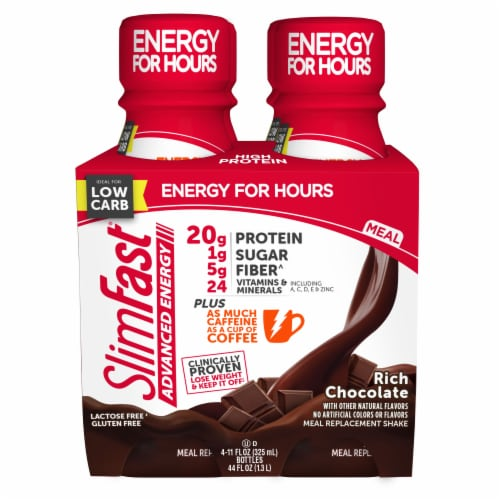SlimFast Advanced Energy Rich Chocolate Meal Replacement Shakes Perspective: front
