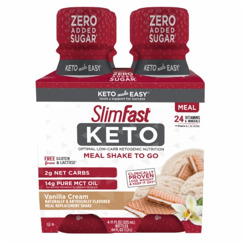 SlimFast Keto Vanilla Cream Ready to Drink Meal Replacement Shakes Perspective: front