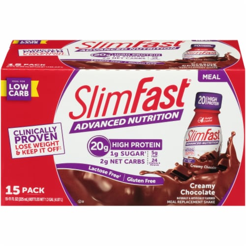 SlimFast Advanced Nutrition Creamy Chocolate Meal Replacement Shakes Perspective: front