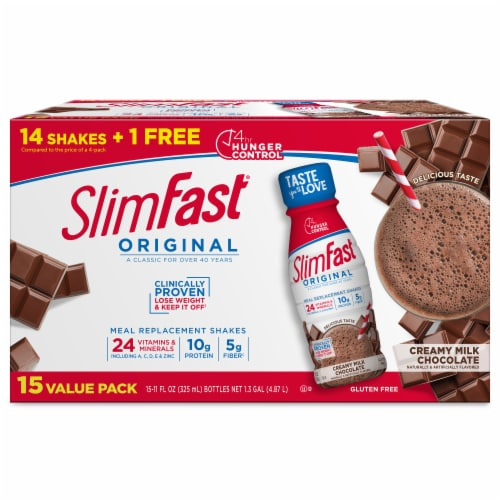 SlimFast Original Creamy Milk Chocolate Meal Replacement Shakes Perspective: front