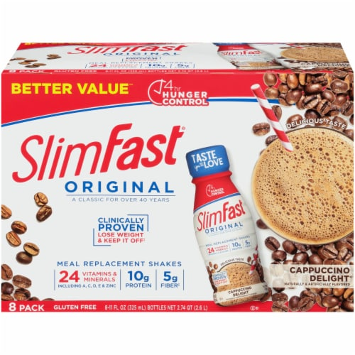 SlimFast Original Cappuccino Delight Meal Replacement Shakes Perspective: front