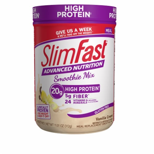 SlimFast Advanced Nutrition High Protein Vanilla Cream Smoothie Mix Perspective: front