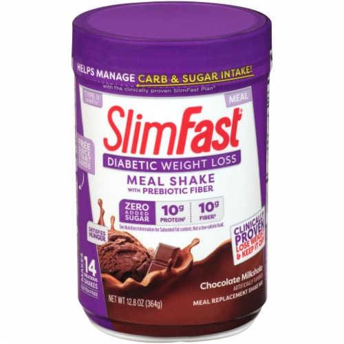 SlimFast Diabetic Weight Loss Chocolate Milkshake Meal Replacement Shake Perspective: front