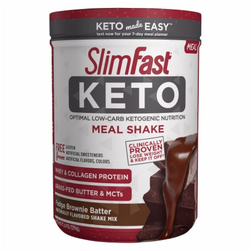 SlimFast Keto Fudge Brownie Batter Meal Shake Mix Perspective: front