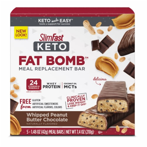 SlimFast Keto Whipped Peanut Butter Chocolate Meal Bars Perspective: front