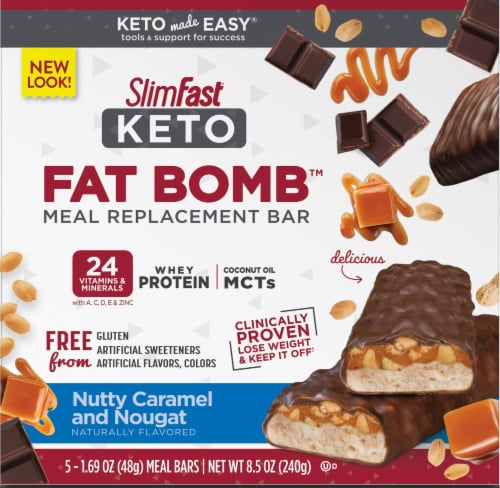 SlimFast Keto Nutty Caramel & Nougat Meal Replacement Bars Perspective: front