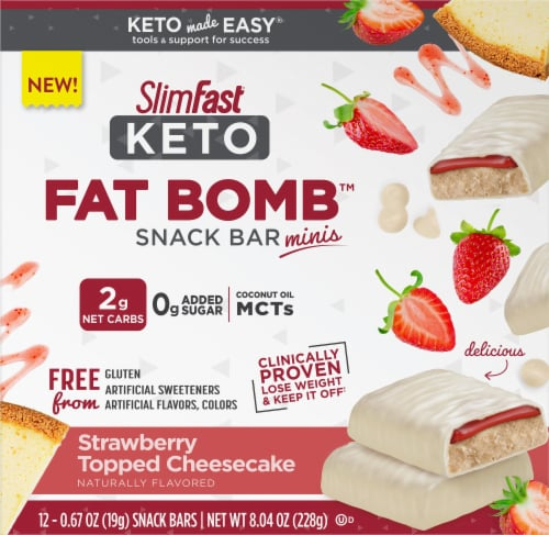 SlimFast Keto Fat Bomb Mini Strawberry Cheesecake Bars Perspective: front