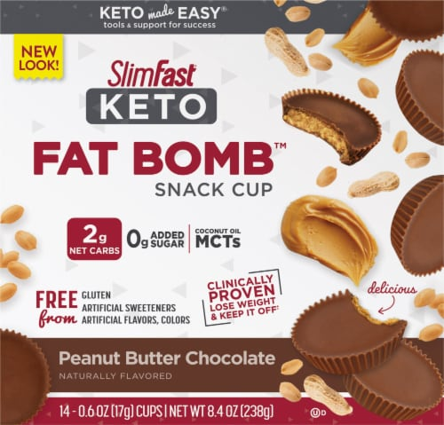 SlimFast Keto Fat Bomb Peanut Butter Cup Snacks 14 Count Perspective: front