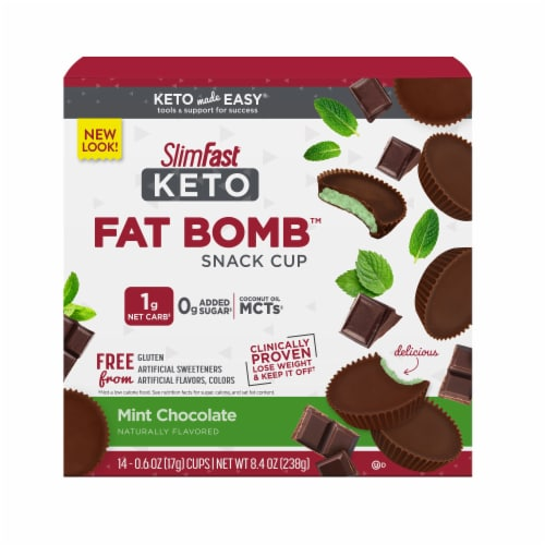 SlimFast Keto Fat Bomb Mint Cup 14 Count Perspective: front