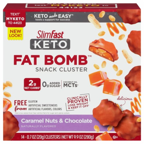 SlimFast Keto Fat Bomb Caramel Nut Clusters Perspective: front