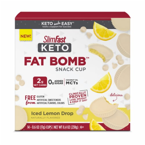 SlimFast Keto Fat Bomb White Chocolate Lemon Bars Perspective: front
