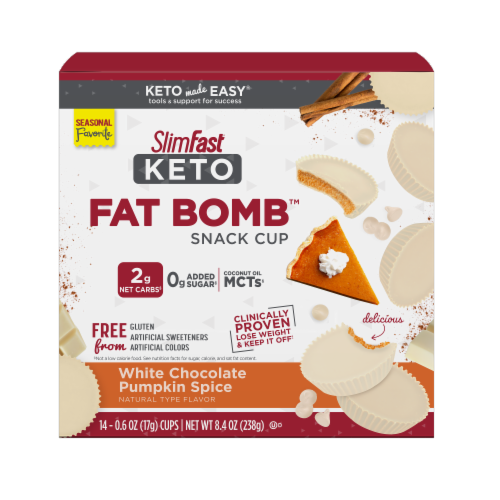 SlimFast Keto Fat Bomb - White Chocolate Pumpkin Perspective: front