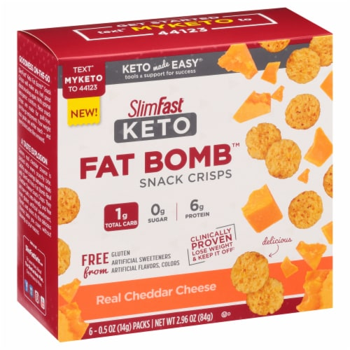 SlimFast Keto Cheddar Cheese Crisps Perspective: front