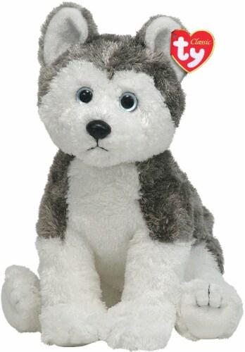 Ty Classic Slush Plush Dog - White/Gray Perspective: front