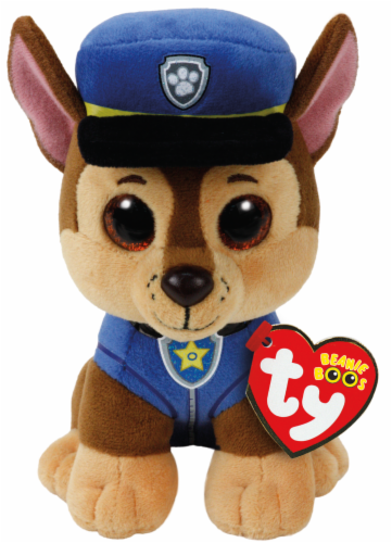 Ty Beanie Boos Chase Plush Dog - Brown/Blue Perspective: front