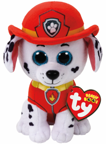 Ty Beanie Boos Marshall Plush Dog - White/Red/Black Perspective: front