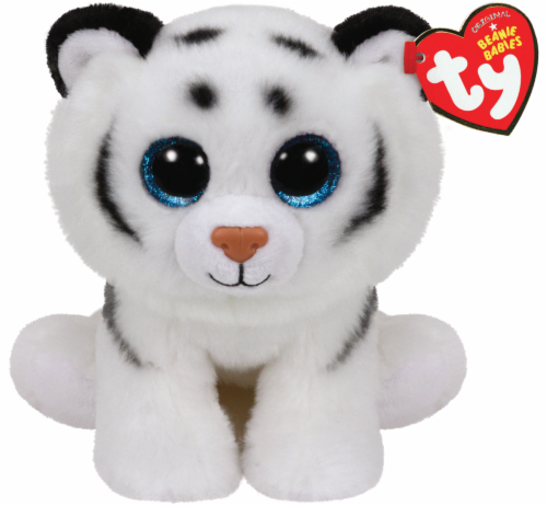 Ty Beanie Babies Tundra Plush Tiger - White/Black Perspective: front