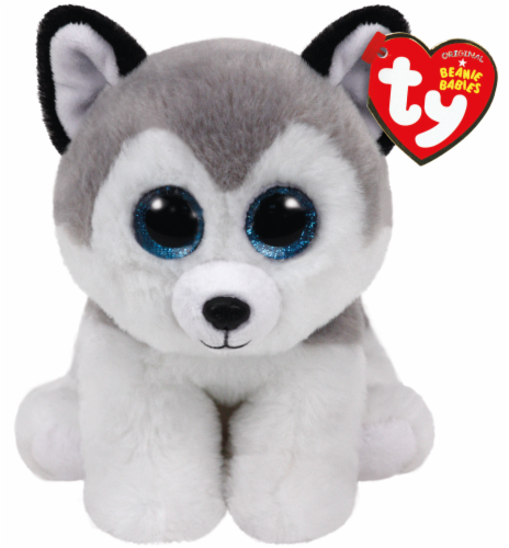 Ty Beanie Babies Buff Plush Husky - White/Gray/Black Perspective: front