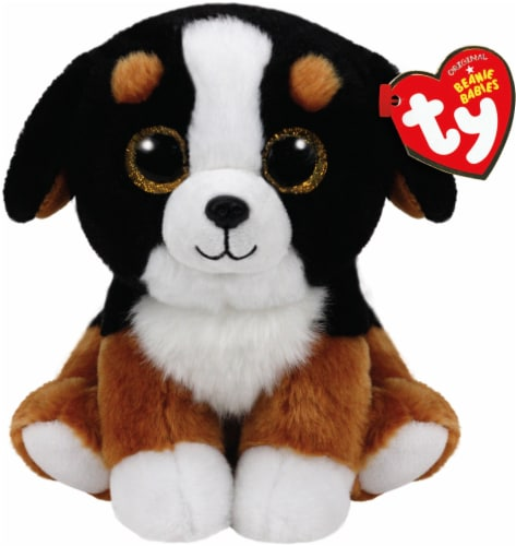 Ty Beanie Babies Roscoe Plush Dog - Black/White/Brown Perspective: front