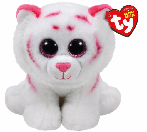 Ty Beanie Babies Tabor Plush Tiger - White/Pink Perspective: front