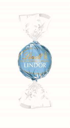 Lindt LINDOR Straccictella White Chocolate Truffles Perspective: front