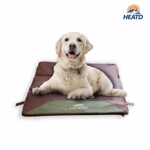 HEATD Dog Mattress with Removable Heating Pad Rechargeable Battery & Cooling Pad Slots - XL Perspective: front