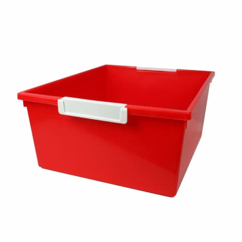 Tattle® Tray with Label Holder, 12 QT, Red Perspective: front