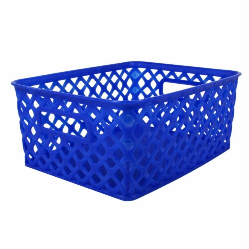 Woven Basket, Small, Blue Perspective: front