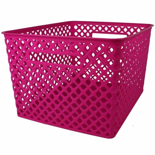 Romanoff Products ROM74207 Large Hot Pink Woven Basket Perspective: front