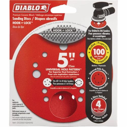 "Diablo 4pk 5"" 100g Sanding Disc DCD050100H04G Perspective: front"
