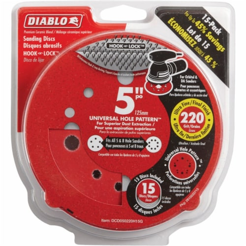 "Diablo 15pk 5""220g Sanding Disc DCD050220H15G Perspective: front"