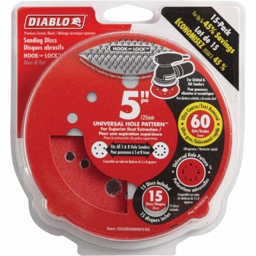 "Diablo 15pk 5"" 60g Sanding Disc DCD050060H15G Perspective: front"