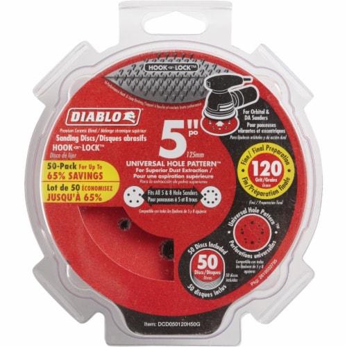 "Diablo 50pk 5""120g Sanding Disc DCD050120H50G Perspective: front"