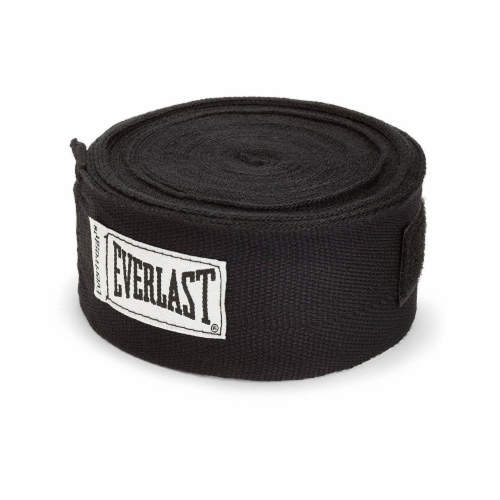 Everlast 120 Inch Polyester Cotton Boxing Sparring Training Hand Wraps, Black Perspective: front