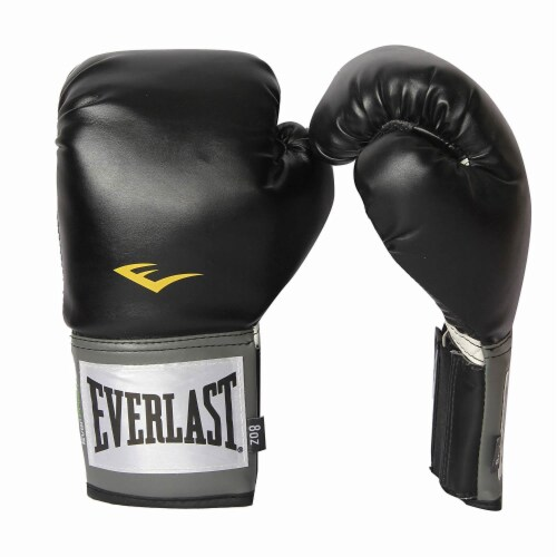 Everlast Pro Style Full Mesh Palm Training Boxing Gloves Size 14 Ounces, Black Perspective: front