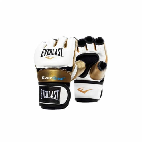 Everlast Everstrike S/M Women's MMA Grappling Training Gloves, White and Gold Perspective: front