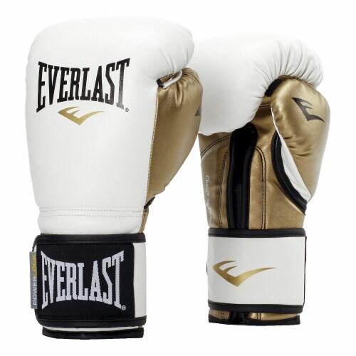 Everlast P00000722 Women's 12 Ounce Powerlock Hook & Loop Training Gloves, White Perspective: front