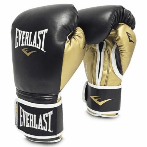 Everlast P00000724 16 Ounce Powerlock Hook & Loop Training Gloves, Black & Gold Perspective: front