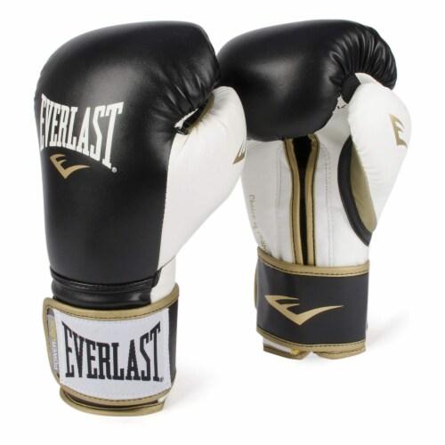 Everlast P00000725 14 Ounce Powerlock Hook & Loop Training Gloves, Black/White Perspective: front