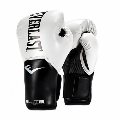 Everlast Pro Style Elite Workout Training Boxing Gloves Size 12 Ounces, White Perspective: front