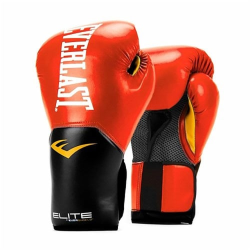 Everlast Pro Style Elite Workout Training Boxing Gloves Size 14 Ounces, Red Perspective: front