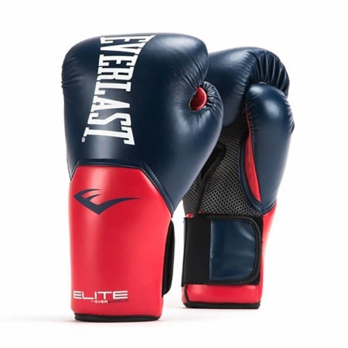 Everlast Pro Style Elite Workout Training Boxing Gloves Size 14 Ounces, Navy/Red Perspective: front