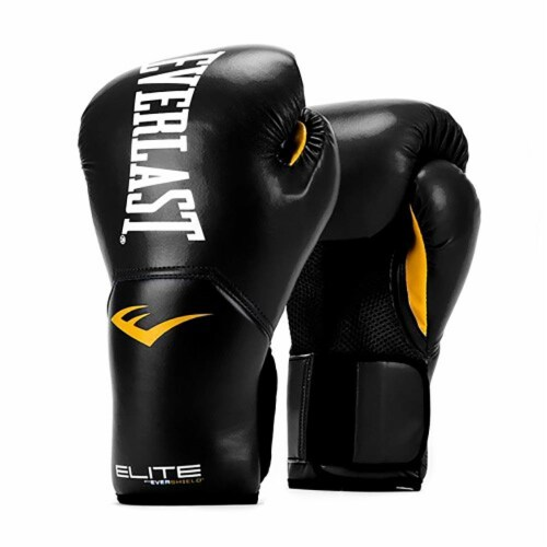 Everlast Pro Style Elite Workout Training Boxing Gloves Size 8 Ounces, Black Perspective: front